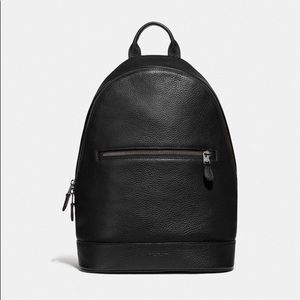 NWT COACH West Slim Men Backpack Black Signature
